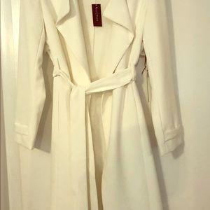 White House Black Market white trench coat